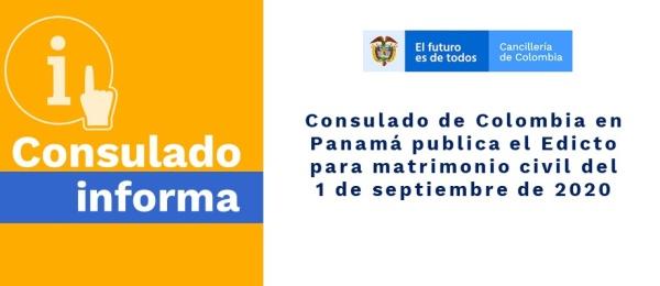 Consulado de Colombia en Panamá publica el Edicto para matrimonio civil del 1 de septiembre de 2020